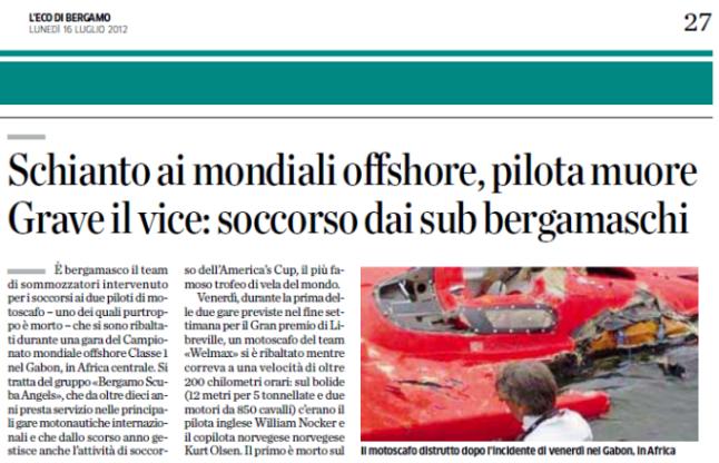 Rassegna stampa – L'Eco di Bergamo 16 Luglio 2012